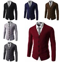 Men's Stylish Casual V-Neck Knitted Jumper Sweater Slim Fit Cardigan Knitwear
