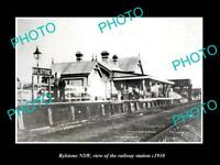 OLD LARGE HISTORIC PHOTO OF RYLSTONE NEW SOUTH WALES, THE RAILWAY STATION c1910