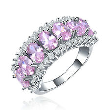 Women Men Pink Jewelry White Gold Ring 10KT Vintage Engagement Rings Bague