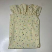 vintage pillowcase floral print standard size color yellow no iron ruffed edge