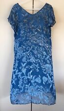 Womens Blue Illusion A La Mer Print Layered Burnout Blue Dress Size M