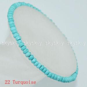 "Multicolor 2x4mm Faceted Jade/Agate/Gemstones Roundlle Bracelet 7.5"""