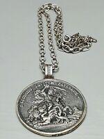 Großes massives 835 Silber Amulett von Blachian Drachentöter hlg. Georg & Kette
