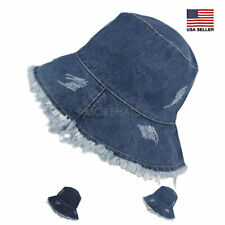 Distressed Denim Vintage Cotton Bucket Hat Hiking Casual Beach Sun  Women Men