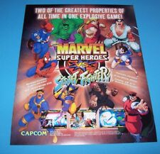 Capcom MARVEL SUPER HEROES VS STREET FIGHTER 1997 NOS Video Arcade Game Flyer