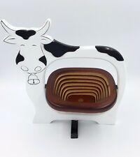 Dairy Cow decorative wood collapsible bowl basket