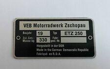 MZ ETZ 250 FRAME DATA PLATE