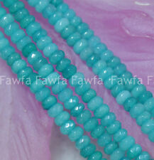 "Fine! 5x8mm Faceted Blue Brazilian Aquamarine Gems Loose Beads 15"" Strands"