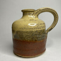 Art Pottery Stoneware Hand Thrown Bud Vase Jug Crock Handled Tri Colored Glaze