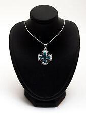 Jerusalem Cross Pendant Made With Opal Gemstone 925 Sterling Silver