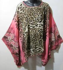 Top Fits 1X 2X 3X 4X 5X Plus Poncho Black Leopard Pink Paisley Caftan NWT 5022