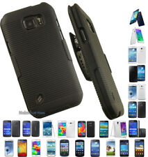 NEW BLACK RUBBERIZED HARD CASE COVER + BELT CLIP HOLSTER STAND FOR SAMSUNG PHONE