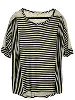 Faith And Joy Los Angeles Ladies Gray Striped Top W/ Lace Insets Size XL