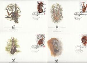 INDONESIA 1380-83 FAMOUS ORANGUTAN SET ON FDC AND MAXI CARDS