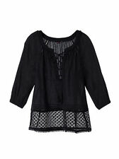 Victoria's Secret Crochet Trim Top women (M) new summer Sanded Black valentines