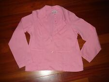 Girls size 10-12 pink Spring jacket stretch material button front school clothes
