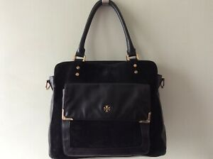 TORY BURCH real leather and suede ladies black slouchy tote handbag