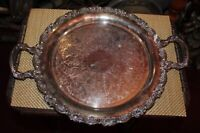 Antique Silver Metal Serving Platter Tray Circular Double Handle Scrolls