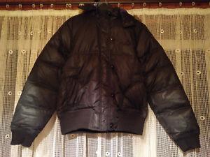 Playboy womens duck down jacket, black wet look, hooded, size 12