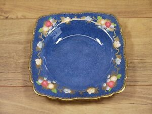Crown Staffordshire China Bowl Blue & Gold Floral & fruit Pattern