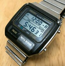 Vintage Seiko S229-5019 Mens Silver Digital Pulse Chrono Watch Hours~New Battery