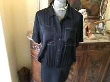 DKNY gorgeous black silk shirt, wide spandex hip band, white top stitch pockets