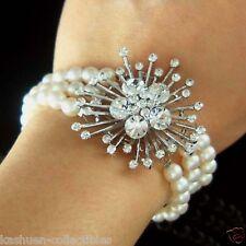 w Swarovski Crystal Brooch + 3 strands FRESHWATER PEARL Sterling Silver Bracelet