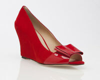 NEW LADIES WOMENS RED LEATHER SUEDE STYLISH WEDGE DRESS WORK SHOES HEELS