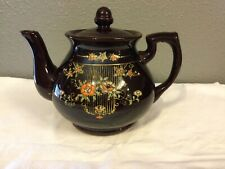 Vintage Teapot. Made In Japan Brown,Gold Trim, Floral
