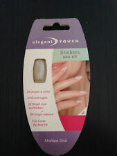 24 UNGHIE FINTE ELEGANT TOUCH STICKERS NAIL KIT MEDIUM OVAL NAILS ONGLES