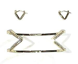 Victorias Secret Gold Tone With Stones Bracelet & Earring Set  $90