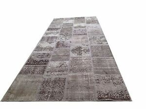 Vintage gray patchwork runner  oushak overdyed rug carpet tapis teppich