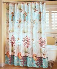 Barbados Nautical Shower Curtain Ocean Beach Starfish Shells Home Bathroom Decor