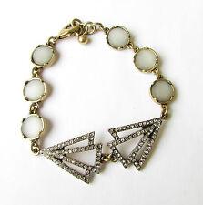 Bronze Silver Diamante Bracelet Faux Opal 1920s Flapper Great Gatsby Vtg 1846