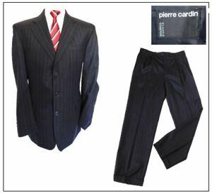 "Vintage Pierre Cardin 2 piece mens suit Ch42""L W36"" L32"" Navy Stripe Turn up hem"