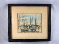 Traverse City MI: c.1960s Original Watercolor and Ink Signed Ken Krantz d307
