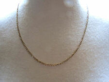 """14k Figaro Yellow Gold Chain Necklace Designer AWAD 5.02g Italy 20"""" White Pave"""