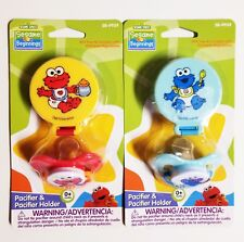 Sesame Beginnings Pacifier & Holder *2 PACk*  ELMO COOKIE MONSTER BPA FREE 0+ M