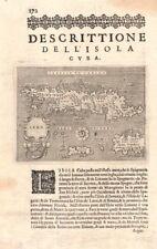 """""""Descrittione dell' Isola di Cuba"""". PORCACCHI. Jamaica Hispaniola 1620 old map"""