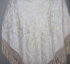 1920s Cream Canton Hand Embroidered Piano Shawl (247)