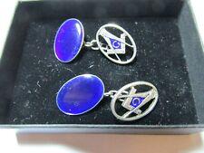 silver cufflinks - different Masonic Blue enamel and