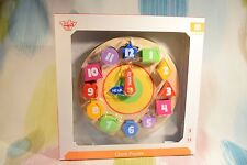 Wooden Display Block Shape Puzzle Clock! Learn Shapes, Colours, Time, Numbers!