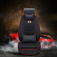 Black / Red Car Seat Whole Cover Protector+Cushion Cover Full Set PU Leather