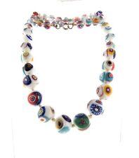 "Vintage Venetian Murano Millefiori Glass Graduated Bead Necklace Strand 22"""