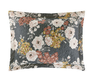 NEW Mainstays Grey Floral Quilted King Pillow Sham Decorative Farmhouse (2)