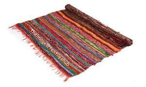 4x6 Ft Orange Chindi Rugs Floor Hand-Woven Yoga Mat Area Rugs Mat Indian Carpets