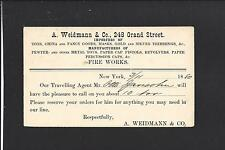 "NEW YORK,NEW YORK 1880, GOVERNMENT POSTAL CARD, AD. A.WEIDMANN &CO. ""FIRE WORKS"""