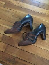 Vintage 1920s art deco Rice O'Neal leather heeled lace up pumps