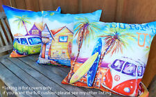 DEBORAH BROUGHTON ART Throw Pillow Cushion COVER 45x45cm Surf Beach & Kombi