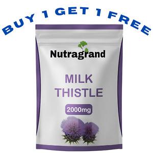 Milk Thistle 2000mg BUY 1 GET 1 FREE , UNBEATABLE VALUE, HIGH STRENGTH, UK MADE